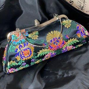 Beautifully Beaded Vintage Sateen Evening Bag NWOT